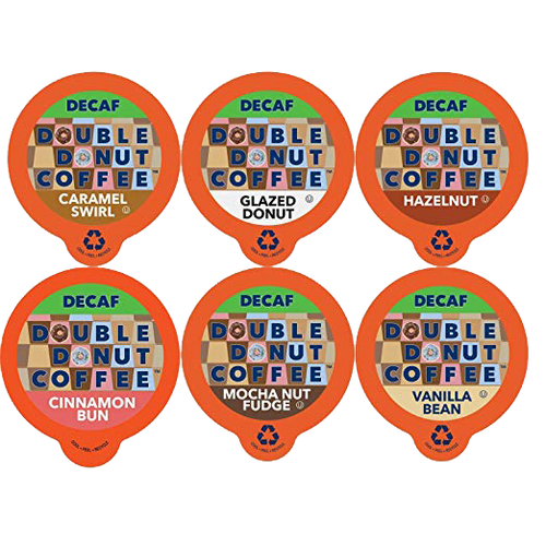 Double Donut Decaf Variety Pack 4 Pkg 24 Cups includes: 4 DECAF Mocha Nut Fudge; 4 DECAF Caramel Swirl; 4 DECAF Glazed Donut; 4 DECAF Vanilla Bean; 4 DECAF Hazelnut; 4 DECAF Cinnamon Bun