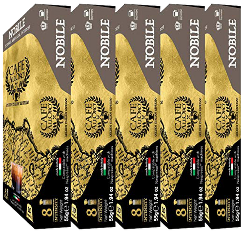 Nespresso Compatible Cafe AllOro Nobile, Aromatic Dark Roast Coffee (Strength 8) for OriginalLine Brewers, 50 Count