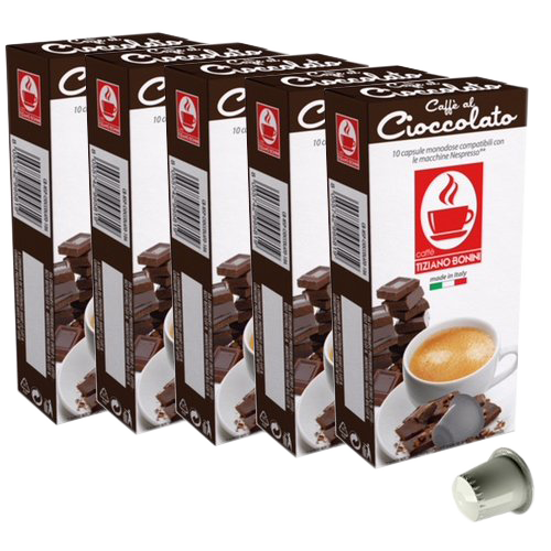 Chocolate Nespresso Flavored Espresso, 50 Count by Caffe Bonini