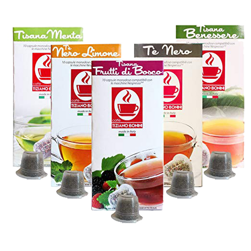 Nespresso Compatible Tea CAFFE BONINI Variety Pack by Perfect Samplers, 50 count