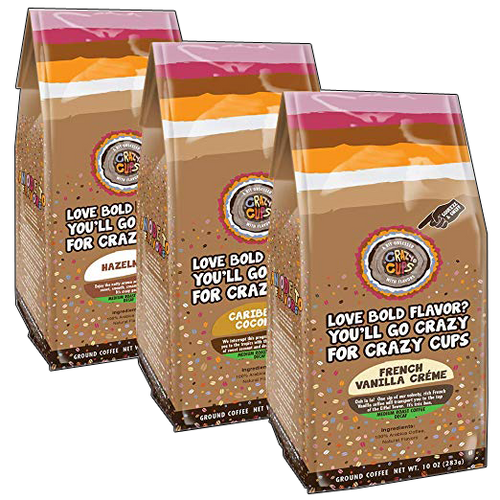 Decaf Ground Coffee Bag Variety Pack Flavored Coffee by Crazy Cups