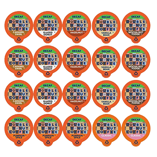 Double Donut Coffee Decaf Flavored Coffee Single Serve Cups For Keurig K Cup Brewer Variety Pack Sampler, 20 count