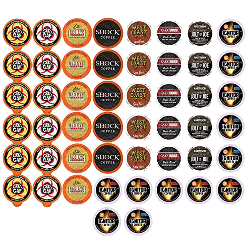 Extra Caffeine Extra Bold Coffee Single Serve Cups For Keurig K Cup Brewers 1.0 and 2.0 Variety Pack Sampler, 50 Count