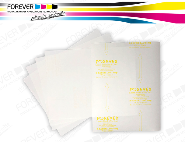 White-opaque heat transfer paper for printing onto dark colored textiles, leather, denim and more. For copiers and laser printers with (60°C washable) and without (40°C washable) silicone oil fusing unit.