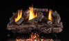 RH Peterson Real-Fyre Charred Aged Split Oak Log Set and Vent Free G10 Burner - Choice of Size and Burner Valve