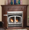 "Shown in Stainless Steel White Mountain Hearth VB4H32BL 32"" Extended Firebox Hood for Breckenridge 32 - Matte Black"