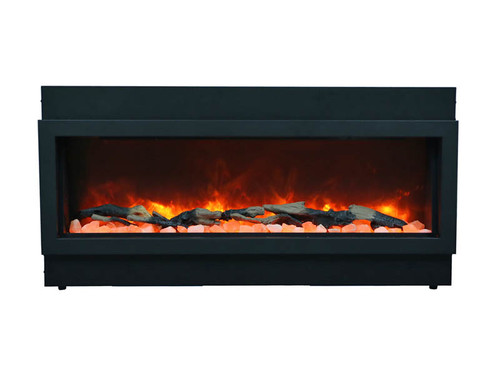 Amantii Panorama Deep, Built-In, Indoor/Outdoor Electric Fireplace with Log Set, Clear Glass and Fire & Ice Media