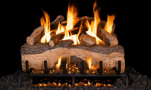 """RH Peterson Real-Fyre MCS30 30"""" Mountain Crest Split Oak Replacement Logs for Vented Burners (LOGS ONLY)"""
