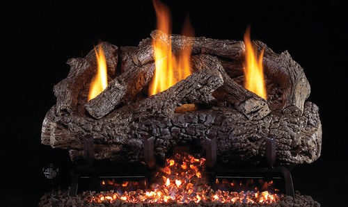 RH Peterson Real-Fyre Charred Frontier Oak Log Set and Vent Free G10 Burner - Choice of Size and Burner Valve