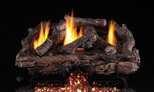 RH Peterson Real-Fyre Charred Aged Split Oak Log Set and Vent Free G10 Burner - Choice of Size and Burner Valve