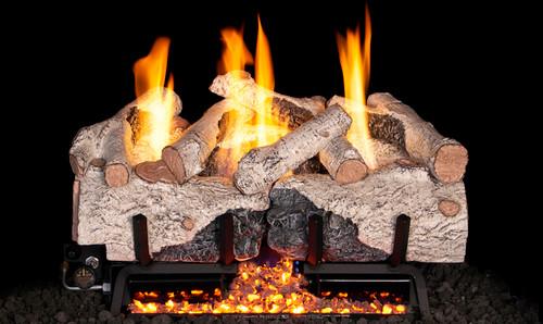 RH Peterson Real-Fyre Charred Alpine Birch Log Set and Vent Free G10 Burner - Choice of Size and Burner Valve