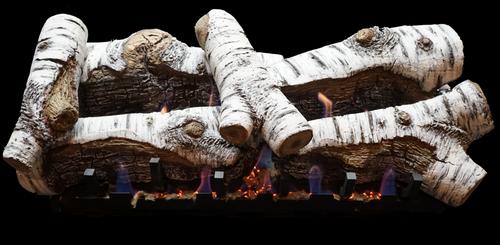White Mountain Hearth Burncrete Birch Log Set with Vented VSR Slope Glaze Burner / Millivolt Valve