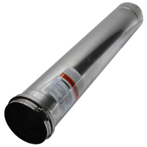 """4"""" Round 24"""" Vent Pipe Category III Stainless"""