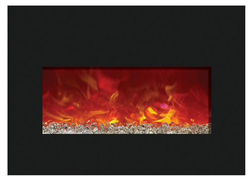 "Amantii INSERT-33-4230-BG 32"" Large Insert Electric Fireplace with Black Glass Surround"