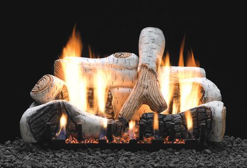 White Mountain Hearth Birch Log Set - Choice of Vent Free Burner