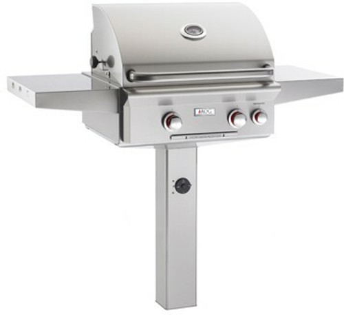 """American Outdoor Grill 24NGT 24"""" In-Ground Post Mount Natural Gas Grill with Rotisserie"""