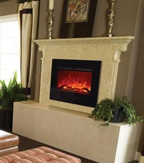 "Amantii ZECL262923-FLUSHMT 26"" Zero Clearance Electric Fireplace with Flushmount Black Glass Surround"