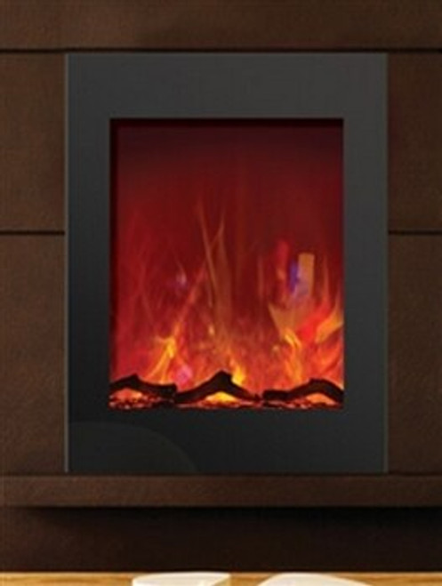 Amantii ZECL-2939 Zero Clearance Vertical Electric Fireplace with Black Glass Surround