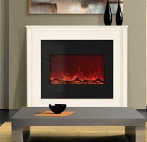 "Amantii ZECL-30-3226 30"" Zero Clearance Electric Fireplace with Black Glass Surround"