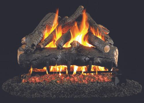 RH Peterson Real-Fyre American Oak Designer Log Set - Choice of Vented Burner and Valve Kit