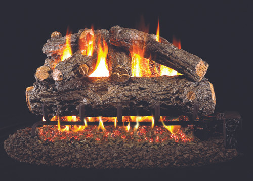 RH Peterson Real-Fyre Rustic Oak Designer Log Set - Choice of Vented Burner and Valve Kit
