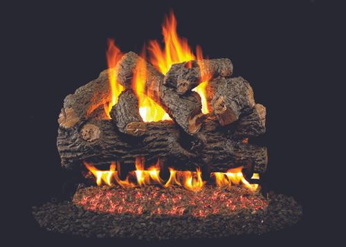 RH Peterson Real-Fyre Royal English Oak Designer Log Set - Choice of Vented Burner and Valve Kit