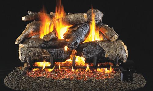 RH Peterson Real-Fyre Charred American Oak Log Set - Choice of Vented Burner and Valve Kit