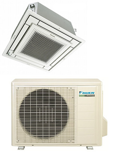 Daikin FFQ15Q2VJU / RX15QMVJU 15000 BTU Vista Series Ceiling Cassette Heat Pump Single Zone System - Controller Required