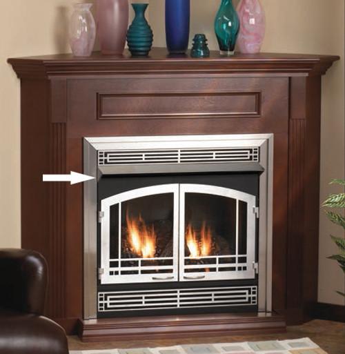 "Shown in Stainless Steel White Mountain Hearth VB2H32HP 32"" Standard Firebox Hood for Breckenridge 32"