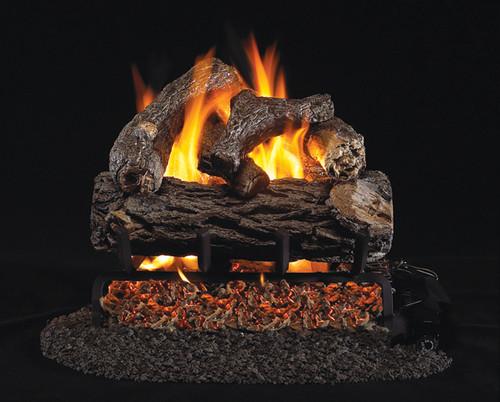 RH Peterson Real-Fyre Golden Oak Designer Plus Log Set - Choice of Vented Burner and Valve Kit