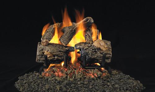 RH Peterson Real-Fyre Charred Oak Log Set - Choice of Vented Burner and Valve Kit