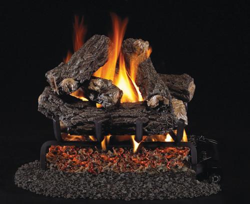 """RH Peterson Real-Fyre 16"""" Rustic Oak Designer Log Set (For Smaller Fireplaces) - Choice of Vented Burner and Valve Kit"""