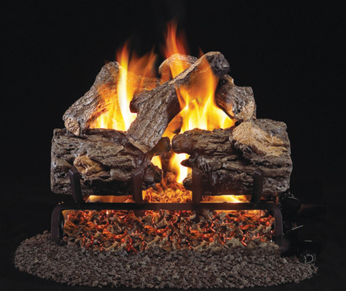"RH Peterson Real-Fyre 16"" Burnt Rustic Oak Log Set (For Smaller Fireplaces) - Choice of Vented Burner and Valve Kit"