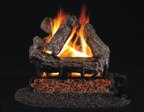"RH Peterson Real-Fyre 16"" Rustic Oak Log Set (For Smaller Fireplaces) - Choice of Vented Burner and Valve Kit"