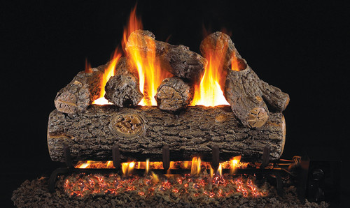 RH Peterson Real-Fyre Golden Oak Designer Plus Log Set - Choice of Vented Burner and Valve Kit