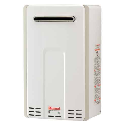 Rinnai V65e High Efficiency Non-Condensing, 6.5 GPM Tankless Hot Water Heater for Outdoor Installation