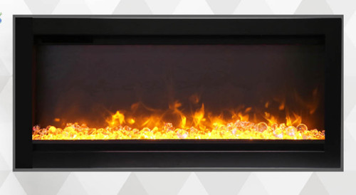 Amantii SYM-B Symmetry-B Built-In Electric Fireplace with Black Steel Surround - Choice of Size