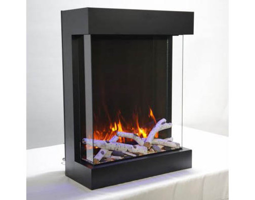 Amantii 2939-TRU-VIEW-XL Tru View 3-Sided Vertical Electric Fireplace with Black Steel Cabinet