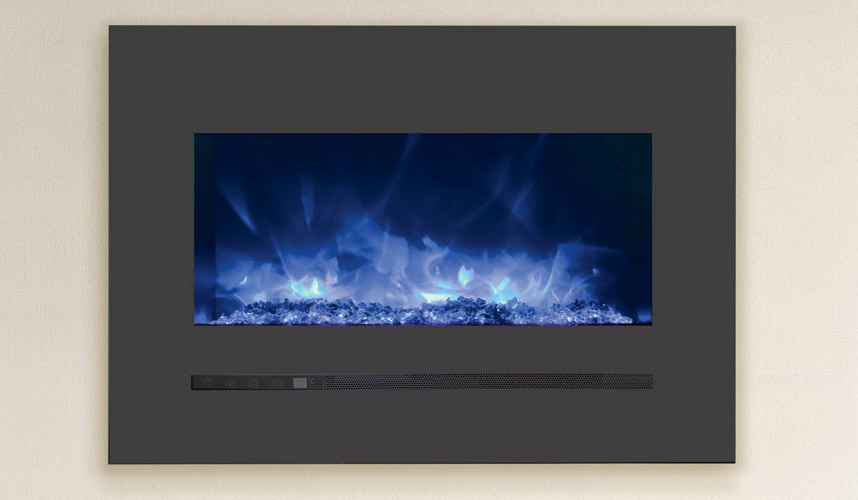 Sierra Flame by Amantii WM-FML Linear Series Built-In Electric Fireplace with Charcoal Steel Surround