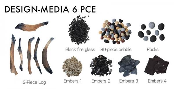 Amantii DESIGN-MEDIA-6PCE 6 Piece Log Set with Deluxe Media