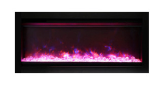 Amantii SYM Symmetry Built-In Electric Fireplace with Log Set, Decorative Media and Black Steel Surround, Choice of Size