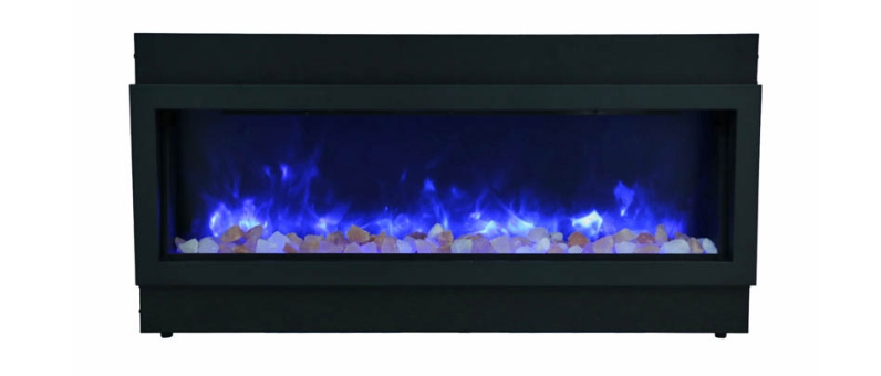 Amantii Panorama Slim, Built-In, Indoor/Outdoor Electric Fireplace with Clear Glass and Fire & Ice Media