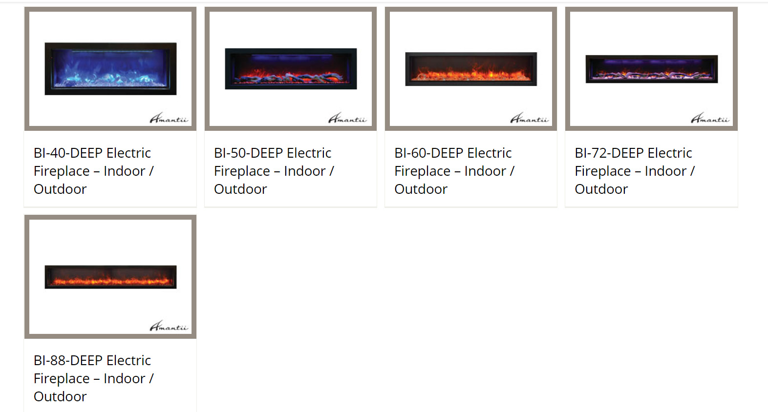 Amantii Panorama Deep Built In Indoor Outdoor Electric Fireplace With Log Set And Fire Ice Media Choice Of Size