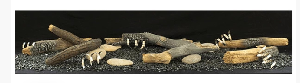 """White Mountain Hearth LSM1THF 7 Piece Rustic Log Set with River Rock Accessory Kit for Boulevard 36"""" Direct Vent Linear Contemporary Fireplaces"""