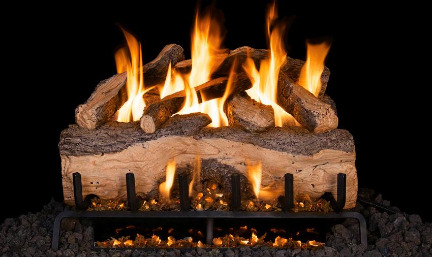 RH Peterson Real-Fyre Mountain Crest Split Oak Log Set - G31 Burner with Choice of Valve Kit
