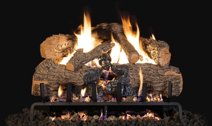 """RH Peterson Real-Fyre CHNA18 18"""" Charred Angel Oak Replacement Logs for Vented Burners (LOGS ONLY)"""