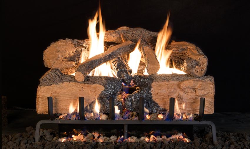 RH Peterson Real-Fyre Charred Angel Split Oak Log Set - G31 Burner with Choice of Valve Kit