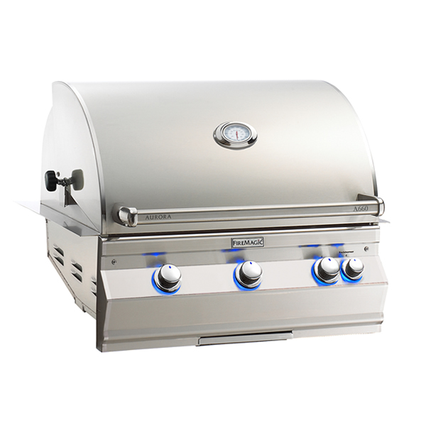 "Fire Magic A660i-8EAP Aurora 30"" Built-In Gas Grill with Backburner and Rotisserie - Liquid Propane"