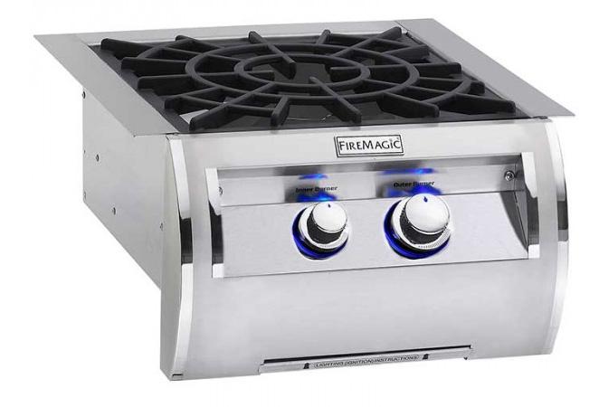 Fire Magic 19-5B2N-0 Built-In Echelon Power Burner with Porcelain Cast Iron Grid- Natural Gas
