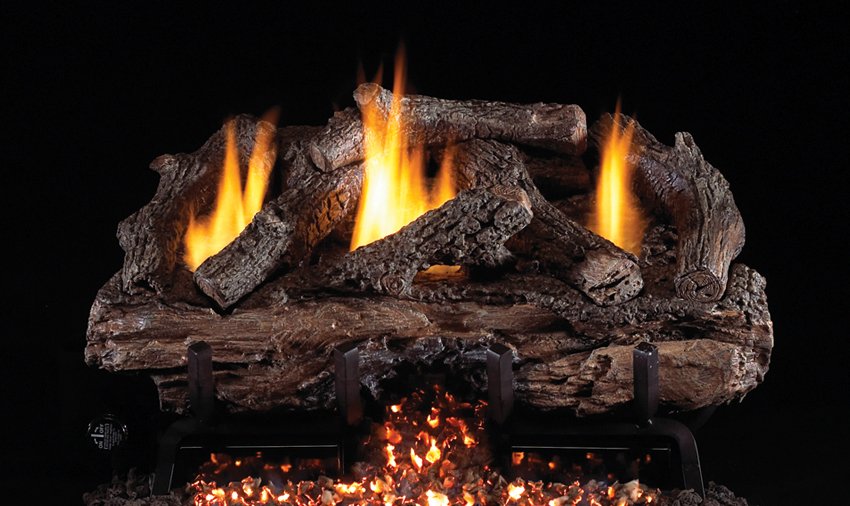 """RH Peterson Real-Fyre CHGS16/18 18"""" Charred Gnarled Split Oak Replacement Logs for G10 Vent Free Burner (LOGS ONLY)"""